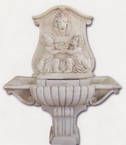 Fontaine murale tête de lion et jumeaux