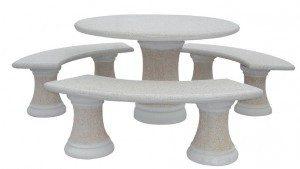 Grande Table ronde avec 3 bancs