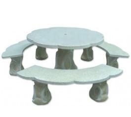 Table ronde fleur avec trois bancs aspect granité
