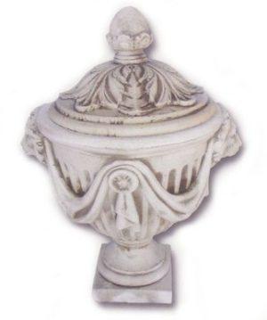 Vase drapé têtes de lion avec couvercle