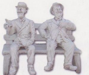 Banc avec Laurel et Hardy